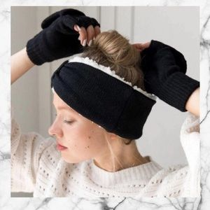 NWT Bearpaw Black Knit Headwrap and Gloves Set